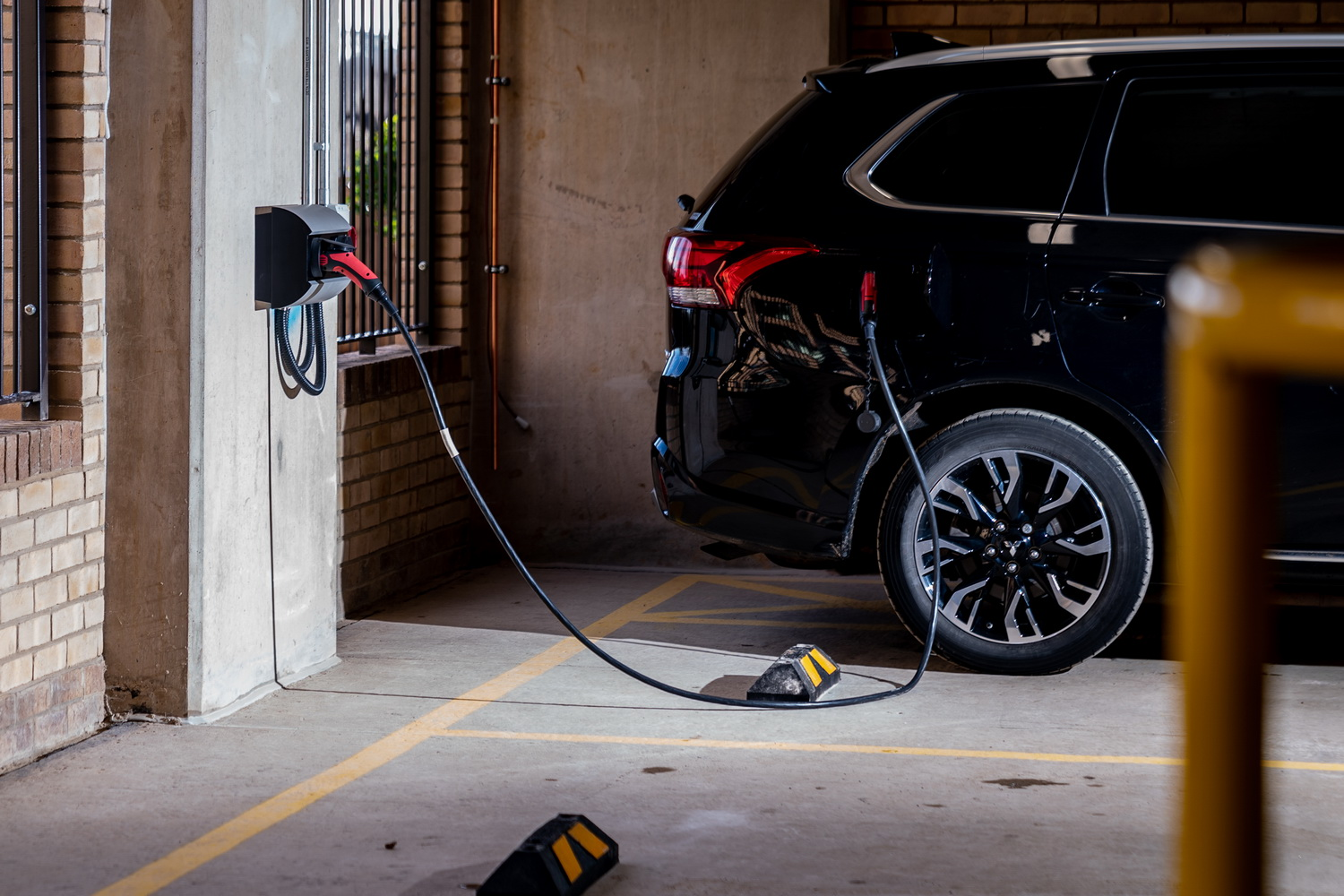 charging car in parking building