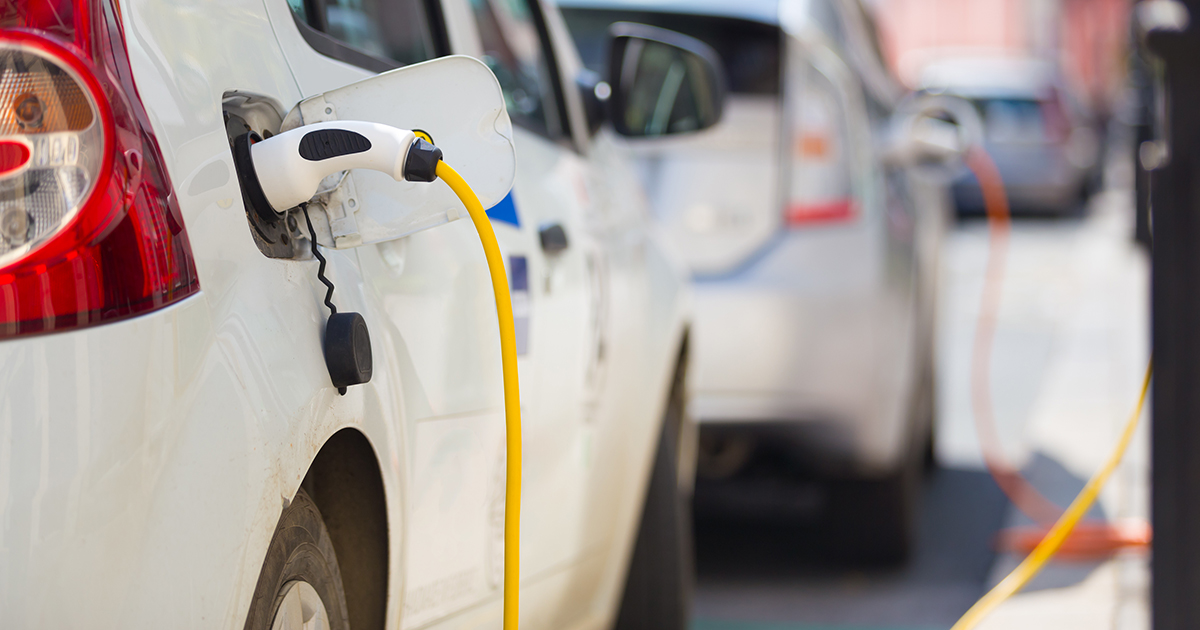 Electric vehicles being charged in public
