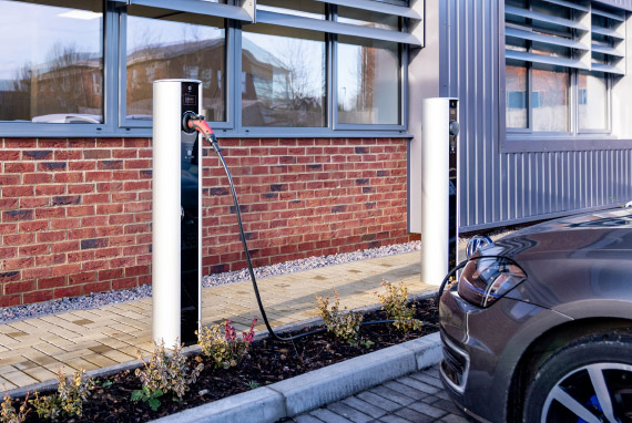 Car charging at a business