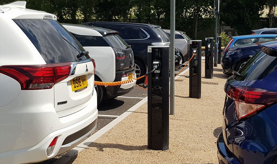 electric vehicle chargers at an University