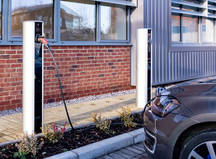 ev charging outside and office