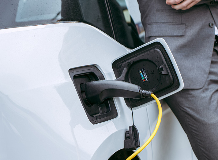 ev charging cable in a white car